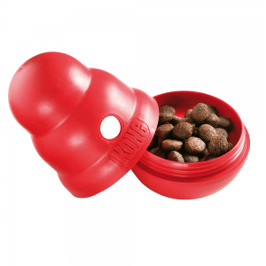 Kong Wobbler can easily be filled with dog food
